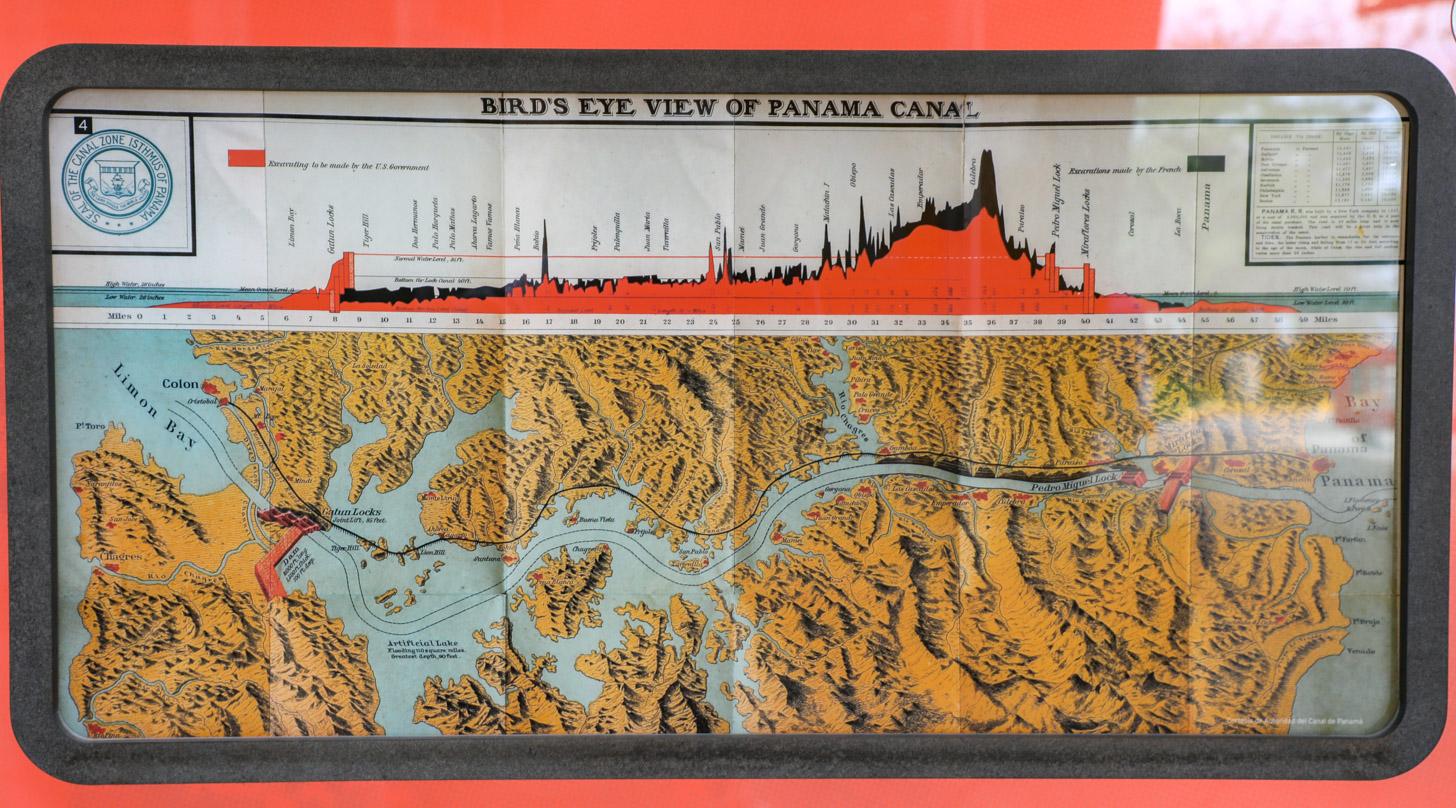 Kaart van het Panamakanaal